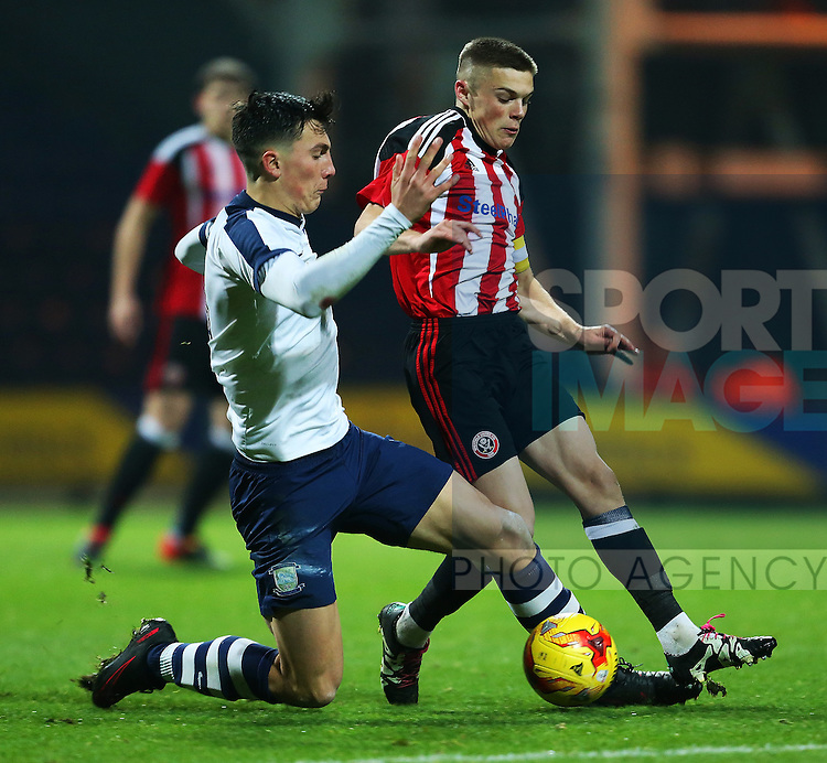 Regan Slater of Sheffield United under 18's in action during the FA Youth Cup 3rd Round match at Deepdale Stadium, Preston. Picture date: November 30th, 2016. Pic Matt McNulty/Sportimage