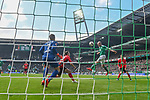 13.04.2019, Weser Stadion, Bremen, GER, 1.FBL, Werder Bremen vs SC Freiburg, <br /> <br /> DFL REGULATIONS PROHIBIT ANY USE OF PHOTOGRAPHS AS IMAGE SEQUENCES AND/OR QUASI-VIDEO.<br /> <br />  im Bild<br /> <br /> 1:0 Tor Davy Klaassen (Werder Bremen #30) Nico Schlotterbeck (SC Freiburg #49)<br /> Alexander Schwolow (SC Freiburg #01)<br />  Aufgenommen mit der Hintertor Remote Kamera<br /> <br /> Foto &copy; nordphoto / Kokenge
