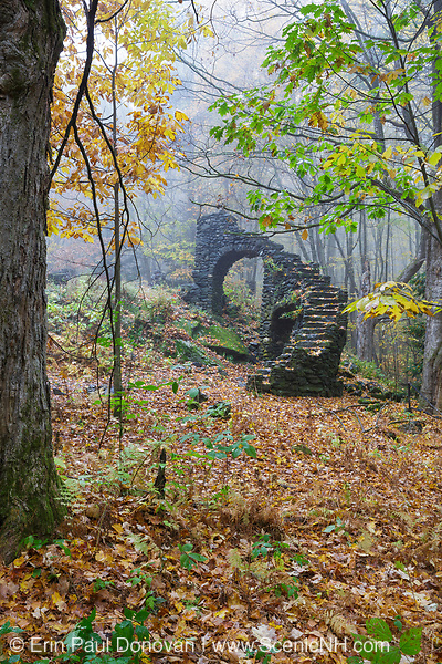 Madame Antoinette Sherri's castle ruins in Madame Sherri Forest of Chesterfield, New Hampshire USA during the autumn months. Madame Antoinette Sherri was a 1920's costume designer from New York who was known for throwing parties for visitors from the city. The castle was destroyed by fire on October 18, 1962. The foundation and a stone staircase from the home is all that remains.