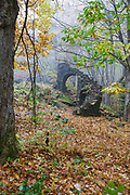 Madame Antoinette Sherri's castle ruins in Madame Sherri Forest in Chesterfield, New Hampshire USA during the autumn months. Madame Antoinette Sherri was a 1920's costume designer from New York who was known for throwing parties for visitors from the city. The castle was destroyed by fire on October 18, 1962. The foundation and a stone staircase from the home is all that remains.