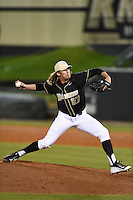 UCF Knights pitcher Spencer Davis (27) delivers a pitch during the opening game of the season against the Siena Saints on February 13, 2015 at Jay Bergman Field in Orlando, Florida.  UCF defeated Siena 4-1.  (Mike Janes/Four Seam Images)