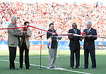 In a ribbon cutting ceremony, Canadian Finance Minister Jim Flaherty (center) declares the games open with FIFA Vice-President Jack Warner (2nd from right), Canada Soccer Association President Colin Linford (right), Mayor of Toronto David Miller (left) on Sunday, July 1st, 2007 at the National Soccer Stadium, also known as BMO Field, in Toronto, Ontario, Canada. Chile's Under-20 Men's National Team defeated Canada's Under-20 Men's National Team 3-0 in a Group A opening round match during the FIFA U-20 World Cup Canada 2007 tournament.