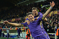 Esultanza26.02.2015. Florence, Italy. Europa League Football. Fiorentina versus Tottenham Hotspur.  1-0 Goal celebration from Joaquin with scorer Gomes