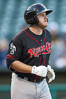 Nashville Sounds designated hitter Max Muncy (9) heads to first base after being walked in a game against the Oklahoma City Dodgers at Chickasaw Bricktown Ballpark on April 15, 2015 in Oklahoma City, Oklahoma. Oklahoma City won 6-5. (William Purnell/Four Seam Images)
