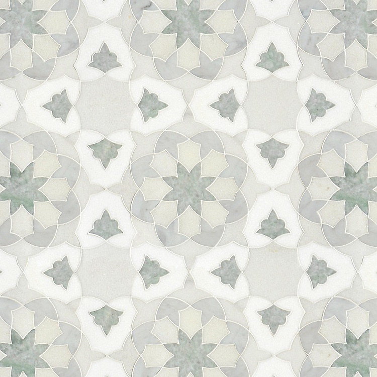 Alcala, a waterjet stone mosaic, shown in Heavenly Cream, polished Carrara, Ming Green, and Thassos, is part of the Miraflores Collection by Paul Schatz for New Ravenna.