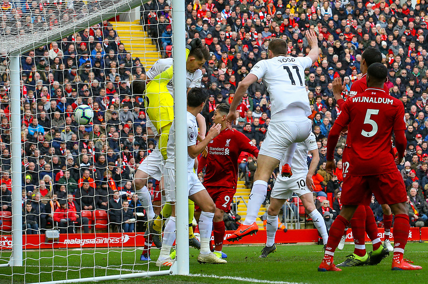 Burnley's Ashley Westwood (not pictured) scores direct from a corner kick<br /> <br /> Photographer Alex Dodd/CameraSport<br /> <br /> The Premier League - Liverpool v Burnley - Sunday 10th March 2019 - Anfield - Liverpool<br /> <br /> World Copyright © 2019 CameraSport. All rights reserved. 43 Linden Ave. Countesthorpe. Leicester. England. LE8 5PG - Tel: +44 (0) 116 277 4147 - admin@camerasport.com - www.camerasport.com