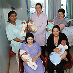 Uzma Usman Drogheda with baby Usman, Katherine McQuillan Donore with baby Moya, Emer Morgan Kells with baby Grace, Jacqueline McGahon Ardee with baby Chloe and Karen Barrett Navan with baby Scott, pictured at the Lourdes hospital where all babies were born on 11-11-2011. Photo: Colin Bell/pressphotos.ie