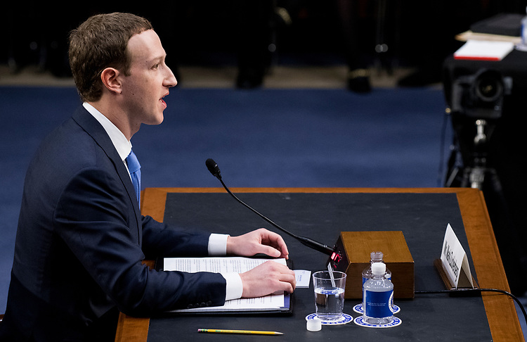 """UNITED STATES - APRIL 10: Facebook CEO Mark Zuckerberg testifies during the Senate Commerce, Science and Transportation Committee and Senate Judiciary Committee joint hearing on """"Facebook, Social Media Privacy, and the Use and Abuse of Data""""on Tuesday, April 10, 2018. (Photo By Bill Clark/CQ Roll Call)"""