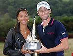 France's Gregory Bourdy &amp; Girlfriend Annabelle Savignan with the ISPS Handa Wales trophy <br /> <br /> Golf - Day 4 - ISPS Handa Wales Open 2013 - Twenty Ten Course- Sunday 1st September 2013 - Celtic Manor Resort  - Newport<br /> <br /> &copy; www.sportingwales.com- PLEASE CREDIT IAN COOK