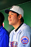 3 July 2010: New York Mets' starting pitcher Hisanori Takahashi sits in the dugout during a game against the Washington Nationals at Nationals Park in Washington, DC. The Nationals rallied in the bottom of the 9th to defeat the Mets 6-5 in the third game of their 4-game series. Mandatory Credit: Ed Wolfstein Photo