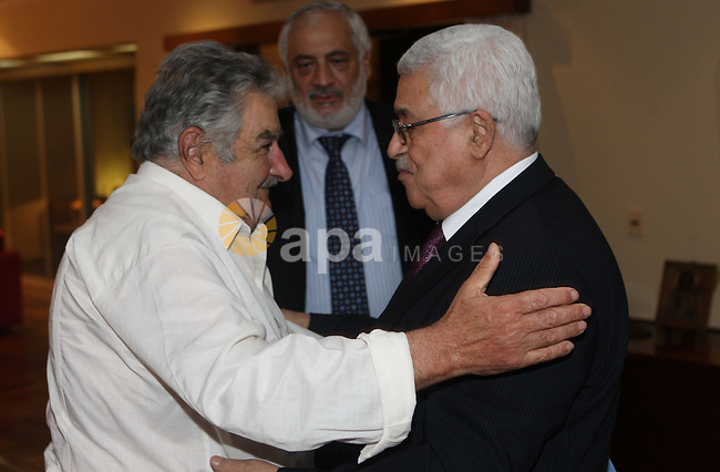 Palestinian President Mahmoud Abbas (Abu Mazen) during a meeting with the President of the Republic of Uruguay Tabare Vazquez, In Brasilia on January 1, 2010. Photo by Thaer Ganaim