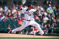 Rochester Red Wings relief pitcher Marcus Walden (18) delivers a pitch during a game against the Pawtucket Red Sox on June 29, 2016 at Frontier Field in Rochester, New York.  Pawtucket defeated Rochester 3-2.  (Mike Janes/Four Seam Images)