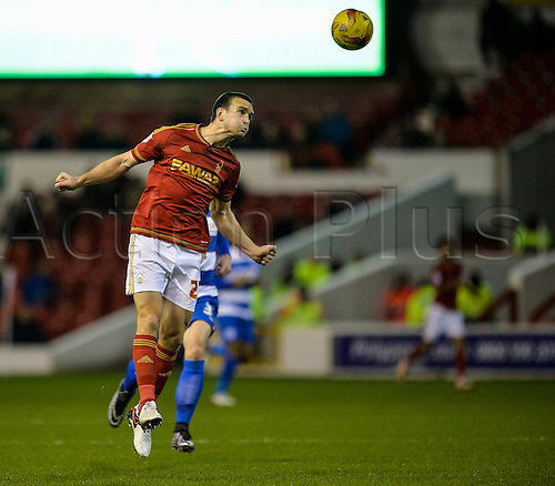 26.01.2016. City Ground, Nottingham, England. Skybet Championship. Nottingham Forest versus Queens Park Rangers. Jack Hobbs of Nottingham Forest heads the ball defensively back to his keeper.