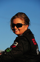 Oct. 14, 2011; Chandler, AZ, USA; NHRA pro stock driver Erica Enders during qualifying for the Arizona Nationals at Firebird International Raceway. Mandatory Credit: Mark J. Rebilas-