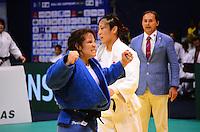 RIO DE JANEIRO, RJ,01 DE SETEMBRO DE 2013 -CAMPEONATO MUNDIAL DE JUDÔ RIO 2013- A  brasileira Maria Portela (de azul) lutou com a japonesa H.Tachimoto na categoria equipes do Mundial de Judô Rio 2013, no Maracanazinho de 26 de agosto a 01 de setembro, zona norte do Rio de Janeiro.FOTO:MARCELO FONSECA/BRAZIL PHOTO PRESS