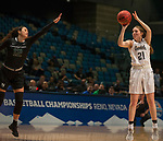 Idaho's Mikayla Ferenz, right, shoots a 3-pointer over Portland State's Tantiana Streun in a women's Big Sky Tournament semi-final game held at the Reno Events Center on Friday, March 9, 2018 in Reno, Nevada.