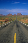 Highway 163 leading into Monument Valley with rock formations in background Arizona State USA