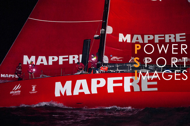 Participants of 2014 - 2015 Volvo Ocean Race cross Malaca to Singapore Straits during the Stage 3 Abu Dhabi - Sanya of the competition on 22nd January 2015 in Singapore, Singapore. Photo by Xaume Olleros / Power Sport Images