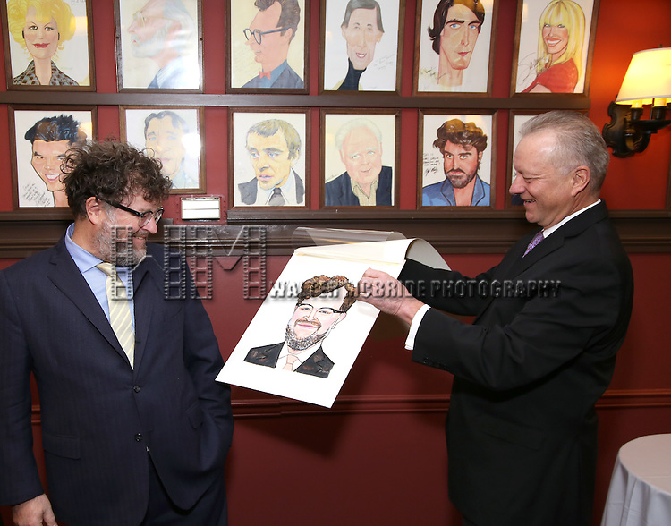 Kenneth Lonergan and Max Klimavicius attend the unveiling of the Kenneth Lonergan caricature at Sardi's on February 17, 2017 in New York City.