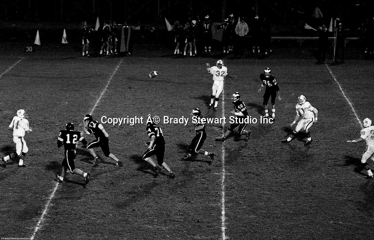 Bethel Park PA:  Offensive play with the Blackhawks completing a screen pass over the middle against the Wash High Prexies - 1970. Others in the photo; Mike Stewart 11, Chip Huggins 32, Clark Miller 30, and Bob Hensler 77. Bethel unvieled their new uniforms against Washington and ended up destroying the Prexies (42-12).  Two touchdowns each by Chip Huggins, Clark Miller and Mike Stewart was the largest offensive output of the season.