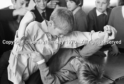 Fighting, Whitworth Comprehensive School, Whitworth, Lancashire.  1970.