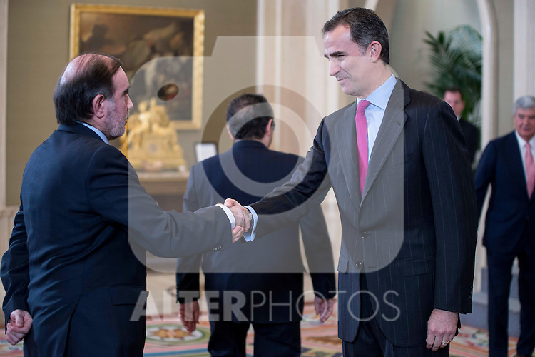 "King Felipe VI of Spain receive in audience to a representation of the Association of editors of Spanish Newspappers for delivery the ""Columna de la Libertad"" prize at Zarzuela Palace in Madrid.  May 11, 2016. (ALTERPHOTOS/BorjaB.Hojas)"
