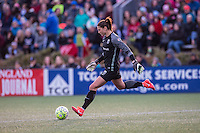 Allston, MA - Sunday, April 24, 2016: Seattle Reign FC goalkeeper Hope Solo (1). The Boston Breakers play Seattle Reign during a regular season NSWL match at Harvard University.