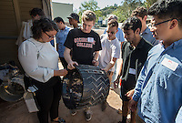 Jack Nelson '17 tours JPL with a group, organized by the CDC. (Photo by Marc Campos, Occidental College Photographer)