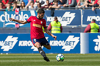 SADAR, PAMPLONA, SPAIN: The Football League, CA Osasuna vs Tenerife; Fran Merida centers a ball on day 33 of Liga 123. April 1, 2018