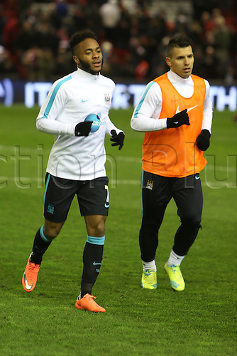02.03.2016. Anfield Stadium, Liverpool, England. Barclays Premier League. Liverpool versus Manchester City. Raheem Sterling of Manchester City warms up ahead of his first appearance at Anfield since his transfer from Liverpool to Manchester City