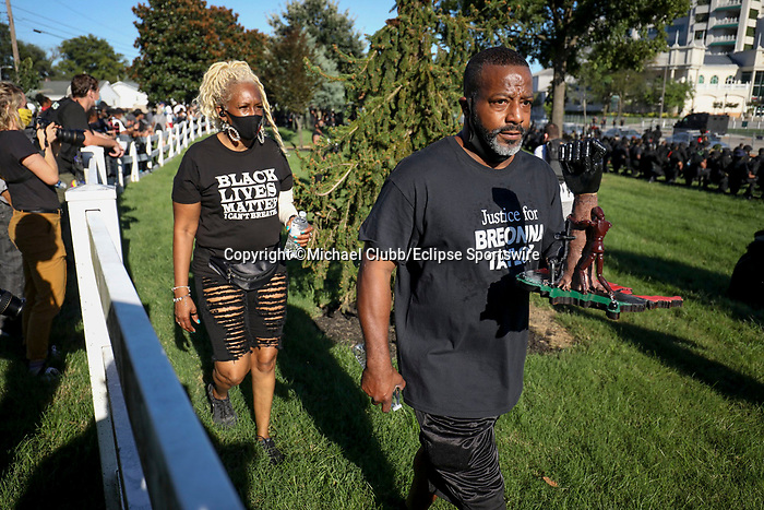 "September 5, 2020: With the Kentucky Derby being the biggest sports event for the State of Kentucky, protestors have chosen the event as a focal point for their calls for justice in the death of Breonna Taylor. Multiple groups from around the country have converged on Louisville to protest during the ""Run for the Roses"" at Churchill Downs in Louisville, Kentucky. Michael Clubb/Eclipse Sportswire/CSM"