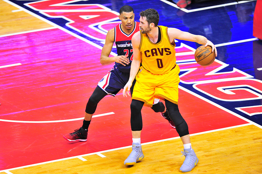 Kevin Love of the Cavaliers looks to score against Wizards Otto Porter. Cleveland Cavaliers defeated Washington Wizards in OT 140-135 during a game at the Verizon Center in Washington, D.C. on Monday, February 6, 2017.  Alan P. Santos/DC Sports Box