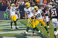 Aaron Rodgers celebrates a touchdown that was then called back as the Packers defeated the Houston Texans 42-24 on Oct. 14, 2012