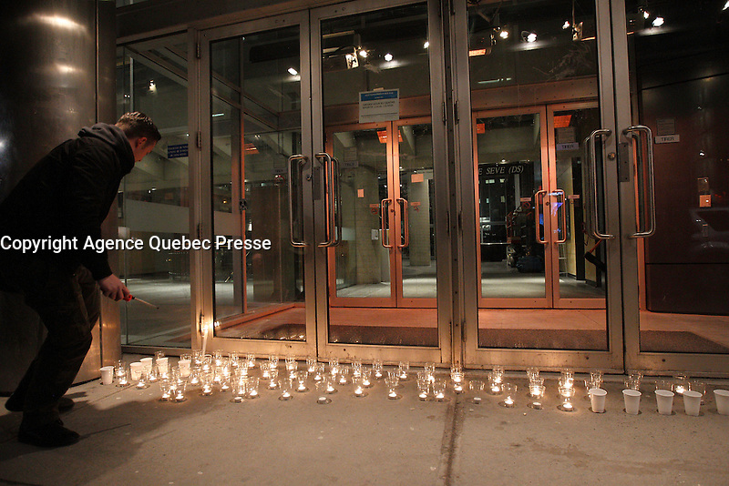 FILE PHOTO - Peacefull demonstration at UQAM (Universite du Quebec A Montreal), April 9, 2015.