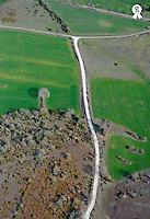 Dirt road and plowed fields at spring, aerial view (Licence this image exclusively with Getty: http://www.gettyimages.com/detail/101682981 )