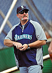21 June 2011: Seattle Mariners Manager Eric Wedge watches batting practice prior to a game against the Washington Nationals at Nationals Park in Washington, District of Columbia. The Nationals rallied from a 5-1 deficit, scoring 5 runs in the bottom of the 9th, to defeat the Mariners 6-5 in inter-league play. Mandatory Credit: Ed Wolfstein Photo