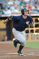 Empire State first baseman Russell Branyan #15 runs to first after hitting a homerun during a game against the Durham Bulls  at Durham Bulls Athletic Park on June 8, 2012 in Durham, North Carolina . The Yankees defeated the Bulls 3-1. (Tony Farlow/Four Seam Images).
