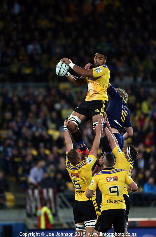 Victor Vito takes lineout ball during the Super Rugby final between the Hurricanes and Highlanders at Westpac Stadium, Wellington, New Zealand on Saturday, 4 July 2015. Photo: Joe Johnson / lintottphoto.co.nz
