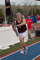 Jenks High School senior Tommy Dial sprints down the pole vault runway on his way to winning the event with a clearance of 17-00 at the 2015 Kansas Relays. The mark would tie Dial for seventh in the country, but he has a previous jump of 17-1 that puts him fifth nationally.