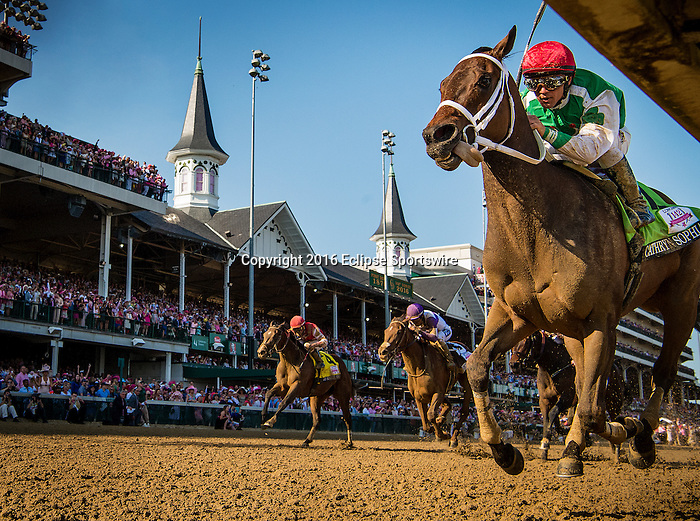 LOUISVILLE, KY - MAY 06: Cathryn Sophia #12, ridden by Javier Castellano, wins the Kentucky Oaks at Churchill Downs on May 06, 2016 in Louisville, Kentucky.(Photo by Alex Evers/Eclipse Sportswire/Getty Images)