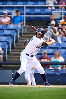Binghamton Rumble Ponies left fielder Kevin Kaczmarski (14) at bat during a game against the Hartford Yard Goats on July 9, 2017 at NYSEG Stadium in Binghamton, New York.  Hartford defeated Binghamton 7-3.  (Mike Janes/Four Seam Images)