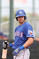Joey Gallo #33 of the Texas Rangers during a Minor League Spring Training Game against the Kansas City Royals at the Kansas City Royals Spring Training Complex on March 20, 2014 in Surprise, Arizona. (Larry Goren/Four Seam Images)