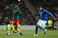 Georges Mandjeck of Cameroon and Maccabi Haifa and Roberto Firmino of Brazil and Liverpool during Brazil vs Cameroon, International Friendly Match Football at stadium:mk on 20th November 2018