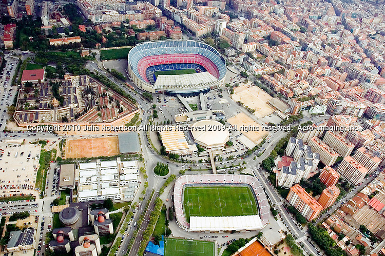 Aerial photographs of the <br /> Nou Camp Stadium in Barcelona Spain. Aerial view of FC Barcelona Stadium