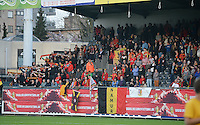 20140410 - LEUVEN , BELGIUM : Belgian Fans pictured during the female soccer match between Belgium and Norway, on the seventh matchday in group 5 of the UEFA qualifying round to the FIFA Women World Cup in Canada 2015 at Stadion Den Dreef , Leuven . Thursday 10th April 2014 . PHOTO DAVID CATRY