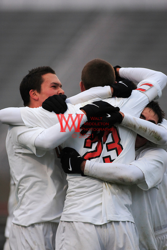 Ohio State Men's Soccer players, Eric Brunner(23), and others celebrate after taking the lead in their game against the defending national champions University of California Santa Barbara during the 3rd round of the 2007 NCAA Collage Cup.