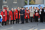 Members of Drogheda Borough Council pictured at the annual memorial cermony at the Cenotaph. Photo: Colin Bell/pressphotos.ie