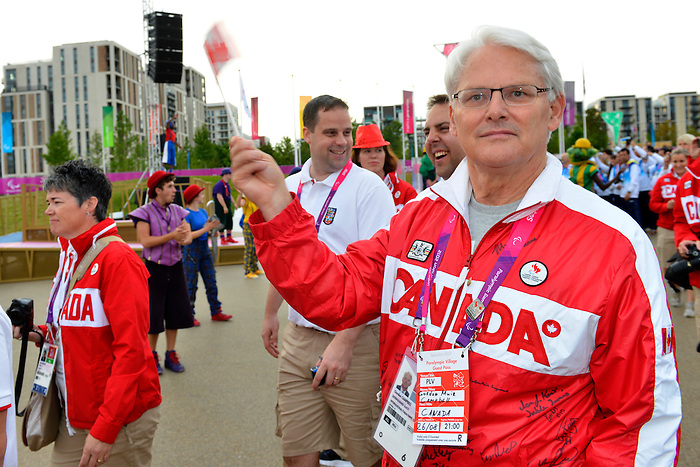 London, England 26/08/2012 - Gordon Campbell,  Canadian High Commissioner to Great Britain enter the Paralympic Village Plaza during the flag raising ceremony with Team Canada at the London 2012 Paralympic Games. (Photo: Phillip MacCallum/Canadian Paralympic Committee)
