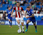 Paul Coutts of Sheffield Utd gets in front of Aron Gunnarsson of Cardiff City during the Championship match at the Cardiff City Stadium, Cardiff. Picture date: August 15th 2017. Picture credit should read: Simon Bellis/Sportimage