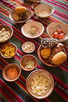 Ingredients used in the traditional Peruvian dish Quechua, Maras, Sacred Valley of the Incas, Cusco Region, Peru, South America